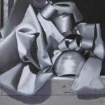 Tissu et rubans noir et blanc